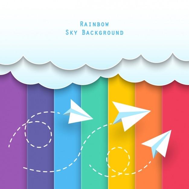 Wolken mit papier flugzeuge Kostenlosen Vektoren