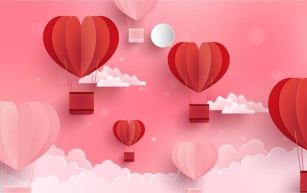 Wolken und heißluftballons Premium Vektoren