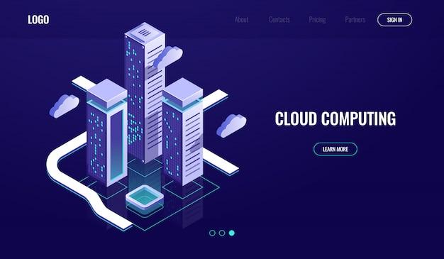 Wolkendatenverarbeitung, isometrisches konzept der wolkendatenspeicherung, moderne digitale stadt, datenstraße Kostenlosen Vektoren