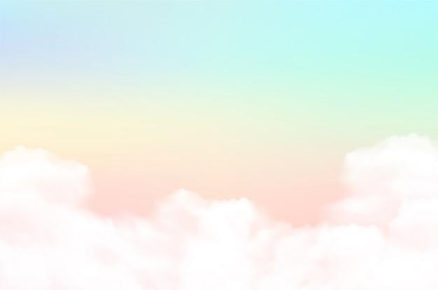 Wolkenhintergrund mit einer pastellfarbe Premium Vektoren
