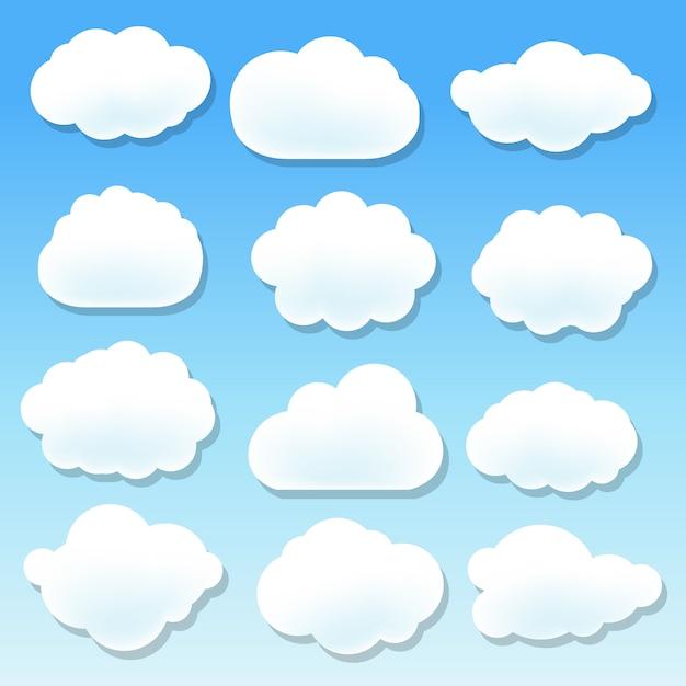 Wolkenillustrationssatz Premium Vektoren