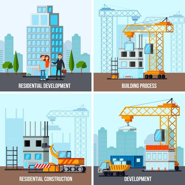 Wolkenkratzer bau banner set Kostenlosen Vektoren