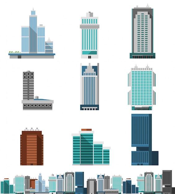 Wolkenkratzer-büros eingestellt Kostenlosen Vektoren