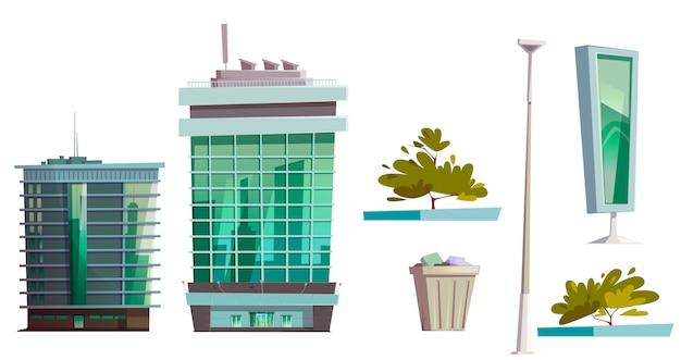 Wolkenkratzer gebäude moderne hausarchitektur gesetzt Kostenlosen Vektoren