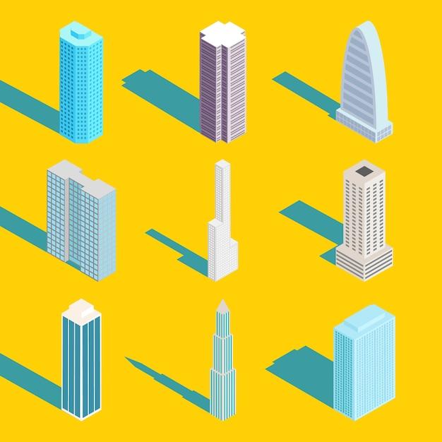 Wolkenkratzer, isometrische stadtgebäude gesetzt Kostenlosen Vektoren