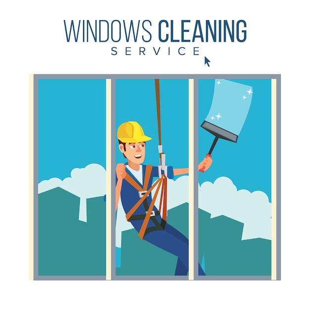 Wolkenkratzer-reinigungsservice Premium Vektoren