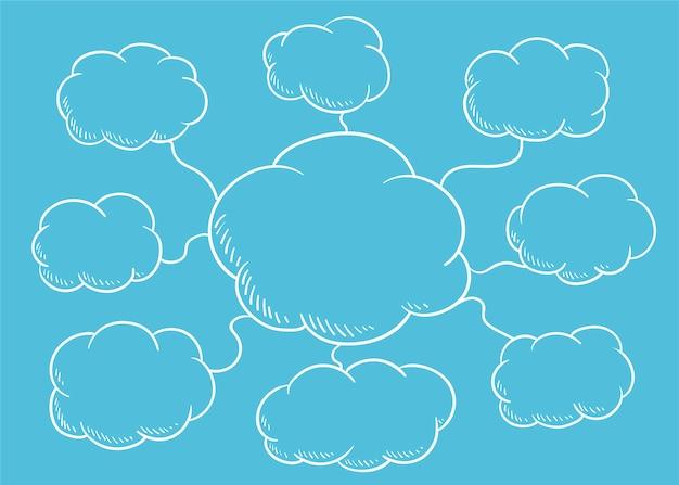 Wolkensprache-blasenillustration Kostenlosen Vektoren