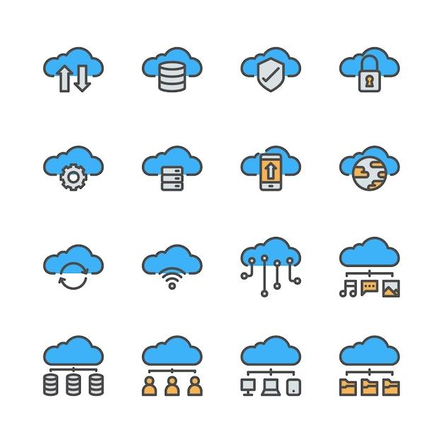 Wolkentechnologieikone eingestellt in farbliniendesign. Premium Vektoren