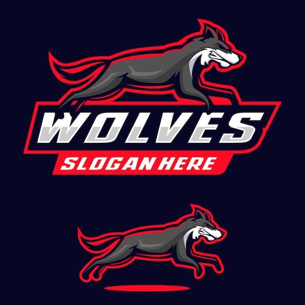 Wolves maskottchen logo illustration Premium Vektoren