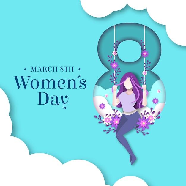 Womens day design im papierstil Kostenlosen Vektoren