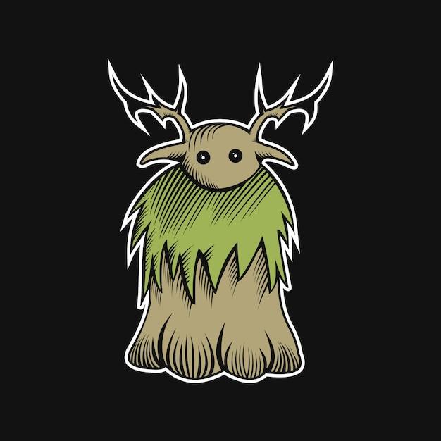 Woodden monster vektor-illustration Premium Vektoren
