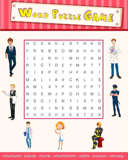 Word-puzzle-spiel-vorlage mit berufen Kostenlosen Vektoren
