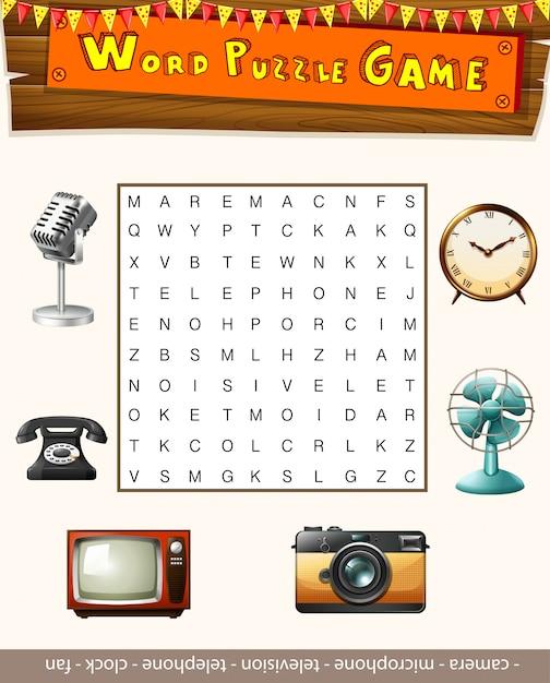 Word-puzzle-spiel-vorlage mit vielen objekten Kostenlosen Vektoren