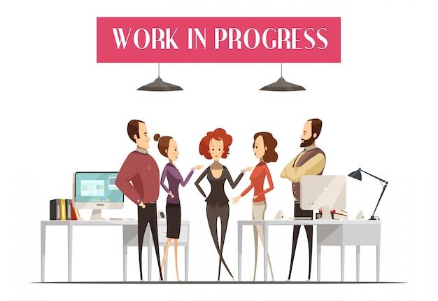 Work in progress design im cartoon-stil mit einer gruppe von männern und frauen Kostenlosen Vektoren