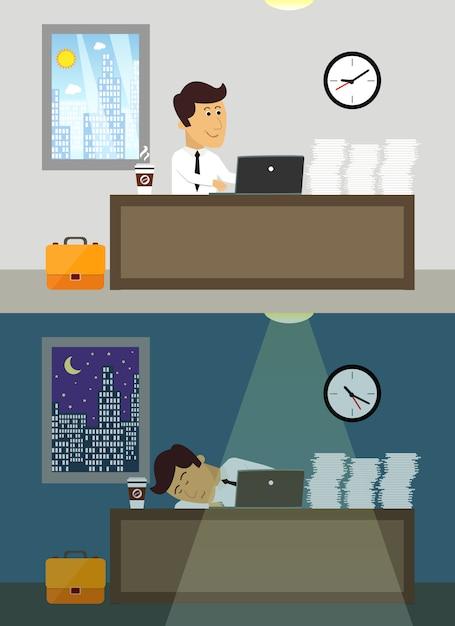 Workaholic arbeitskraft des geschäftslebens in der tag und nacht szene des büros vector illustration Kostenlosen Vektoren