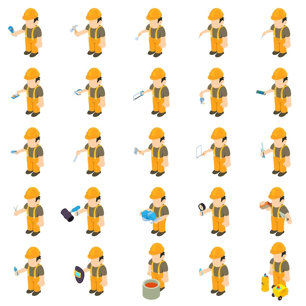 Worker builder-icon-set Premium Vektoren