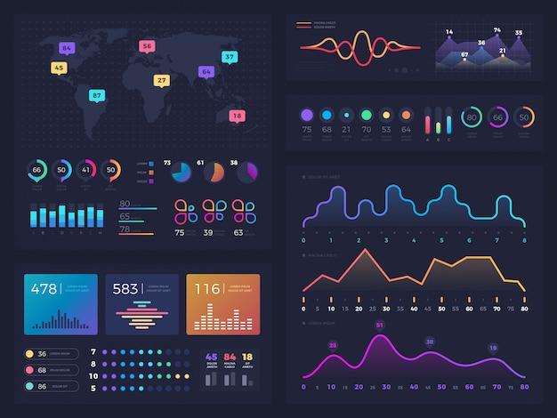 Workflow-diagramme und diagramme, infografik Premium Vektoren