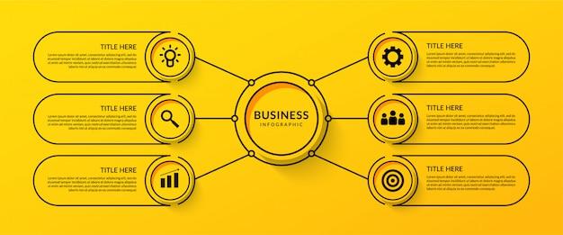 Workflow-infografik mit sechs optionalen Premium Vektoren