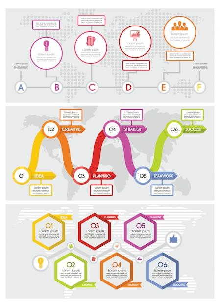 Workflow-timeline-infografiken Premium Vektoren