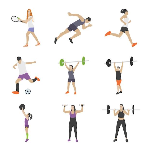 Workout icons sammlung Premium Vektoren