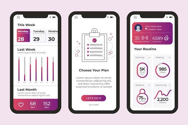 Workout tracker app bildschirme Kostenlosen Vektoren