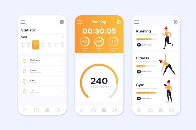 Workout-tracker-app-oberfläche Premium Vektoren