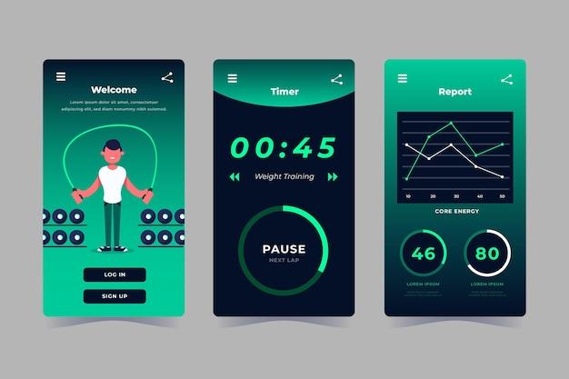 Workout tracker app sammlung Kostenlosen Vektoren