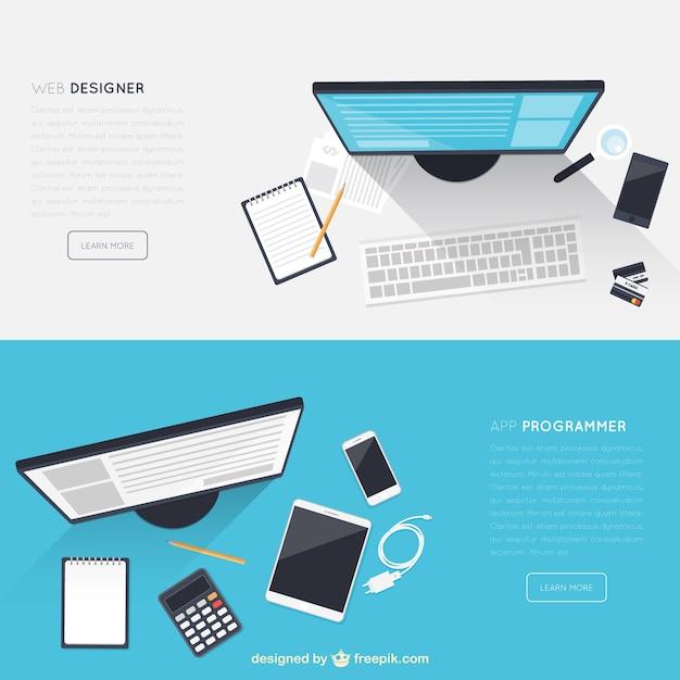 Workspace-Banner Kostenlose Vektoren