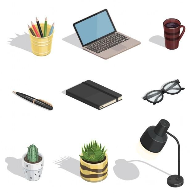 Workspace Elemente Vector isometrische Symbole Kostenlose Vektoren