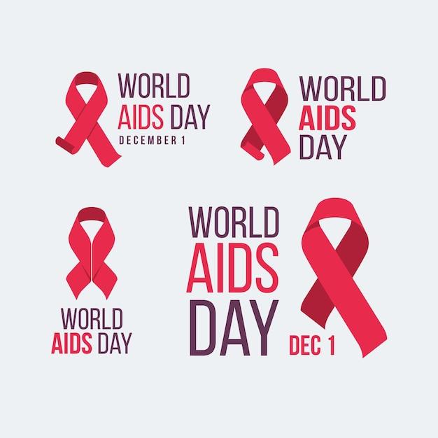 World aids day-etiketten mit roten bändern Kostenlosen Vektoren