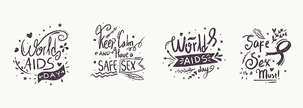 World aids day event schriftzug Premium Vektoren