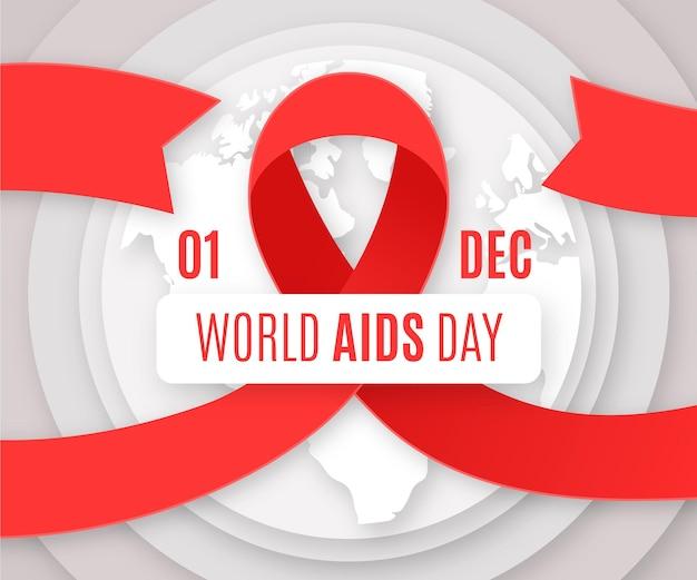 World aids day wallpaper im papierstil Kostenlosen Vektoren