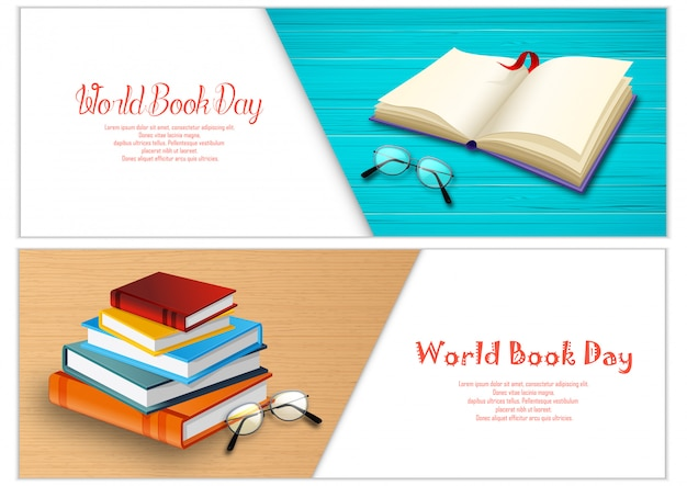 World book day banner vorlage Premium Vektoren
