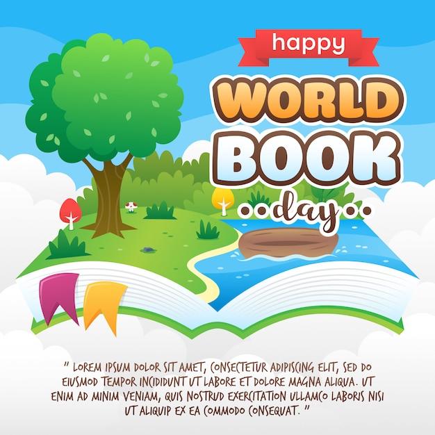 World book day hintergrund Premium Vektoren