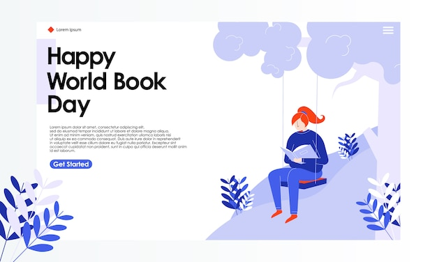 World book day landing page illustration Premium Vektoren