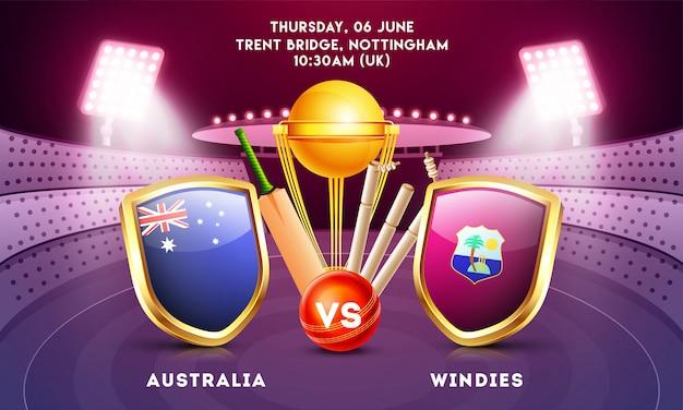 World cricket championship-konzept. Premium Vektoren