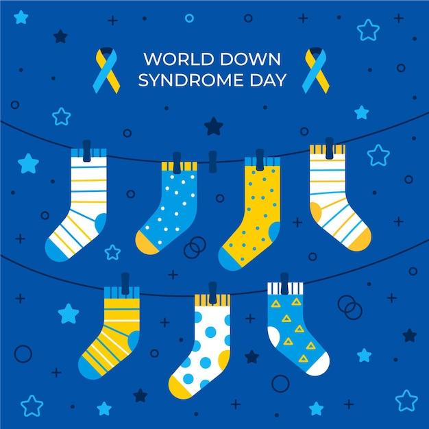 World down syndrom tag illustration mit hängenden socken Kostenlosen Vektoren