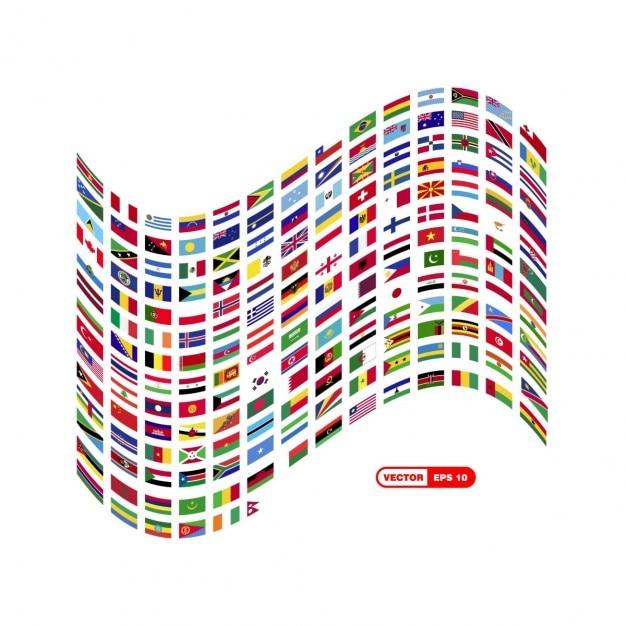 World flag composition Kostenlosen Vektoren