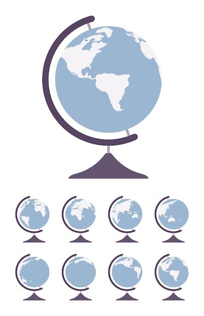 World globe auf stand und spin in verschiedenen seiten Premium Vektoren