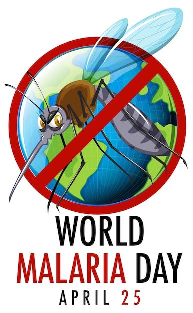 World malaria day logo oder banner mit mückenzeichen Premium Vektoren