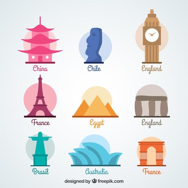 World monuments set Kostenlosen Vektoren
