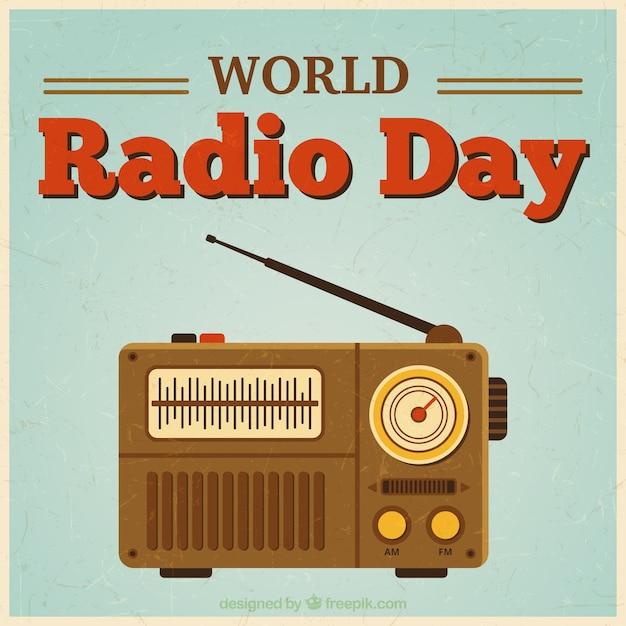 World radio tag im vintage-stil Kostenlosen Vektoren