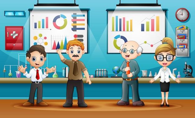 World science day mit wissenschaftlern im labor Premium Vektoren