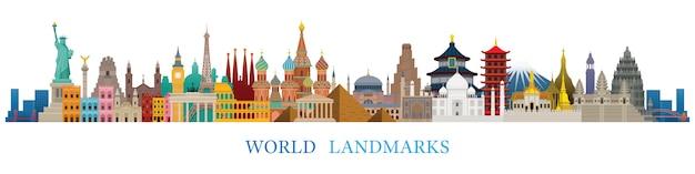 World skyline landmarks silhouette in farbenfrohen farben, berühmten ort und historischen gebäuden, reise- und touristenattraktion Premium Vektoren