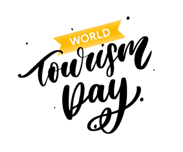 World tourism day schriftzug Premium Vektoren