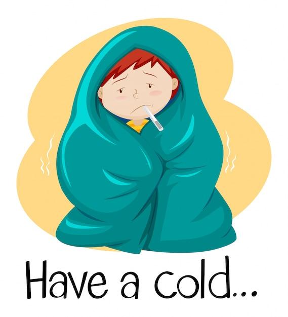 Wort für eine erkältung mit kind in der decke Premium Vektoren