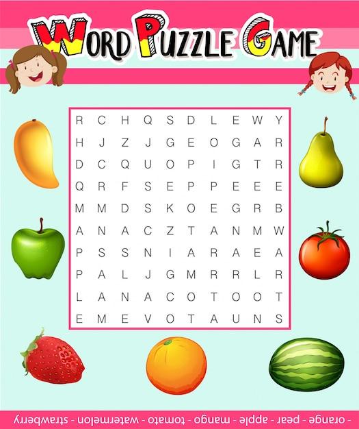 Wort Puzzle Spiel Vorlage mit Obst Thema Illustration | Download der ...