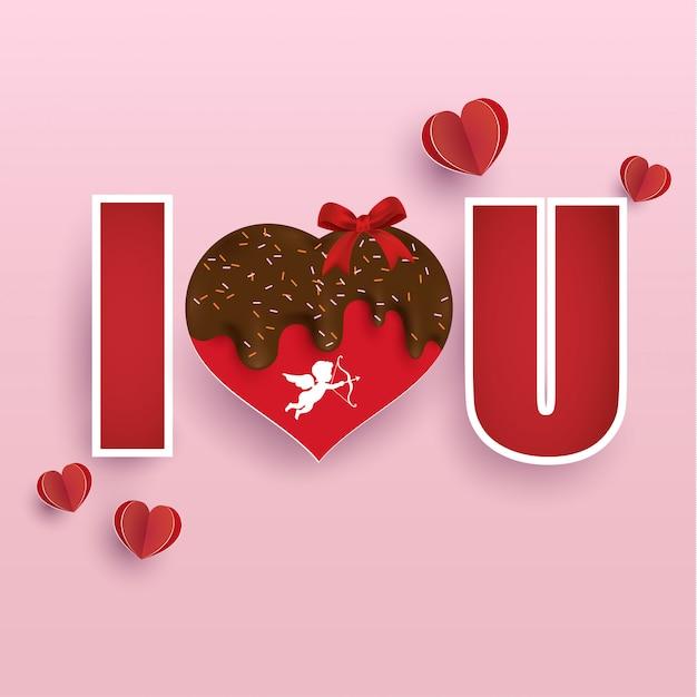 Worte der liebe und dekoration zum valentinstag Premium Vektoren