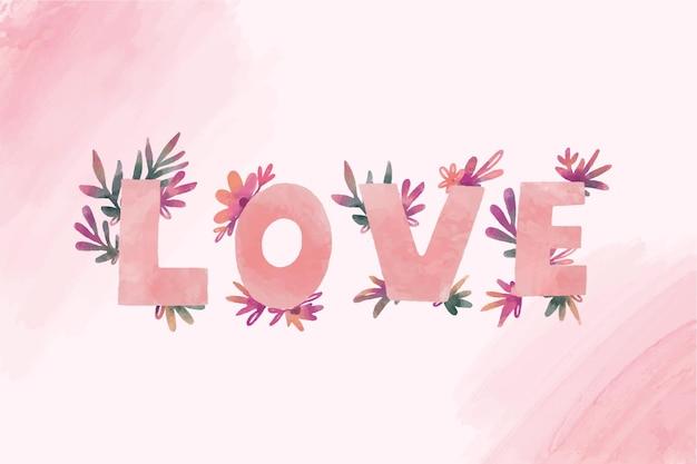 Wortliebesbeschriftung mit blumen für valentinstag Kostenlosen Vektoren