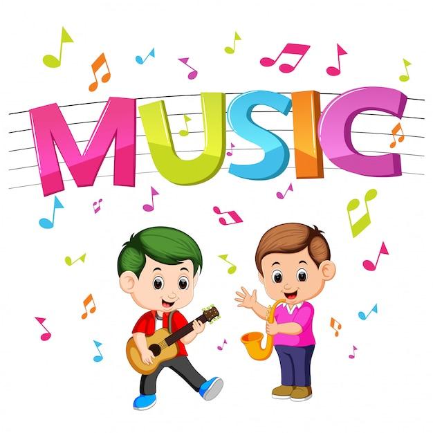 Wortmusik mit kindern, die gitarre und saxophon spielen Premium Vektoren